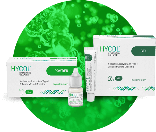 Give your patients a head start toward wound resolution with HYCOL  Hydrolyzed Collagen.